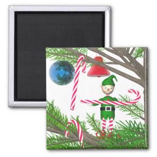 Christmas Candy Cane Elf Magnet
