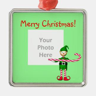 Christmas Candy Cane Elf (photo frame) Christmas Ornament
