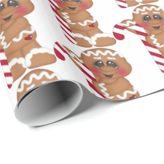 Christmas candy cane gingerbread tiled party wrap wrapping paper