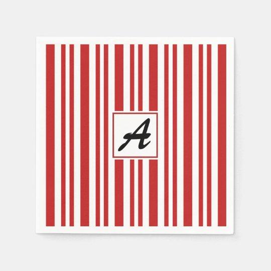 Christmas Candy Cane Monogram Paper Napkin