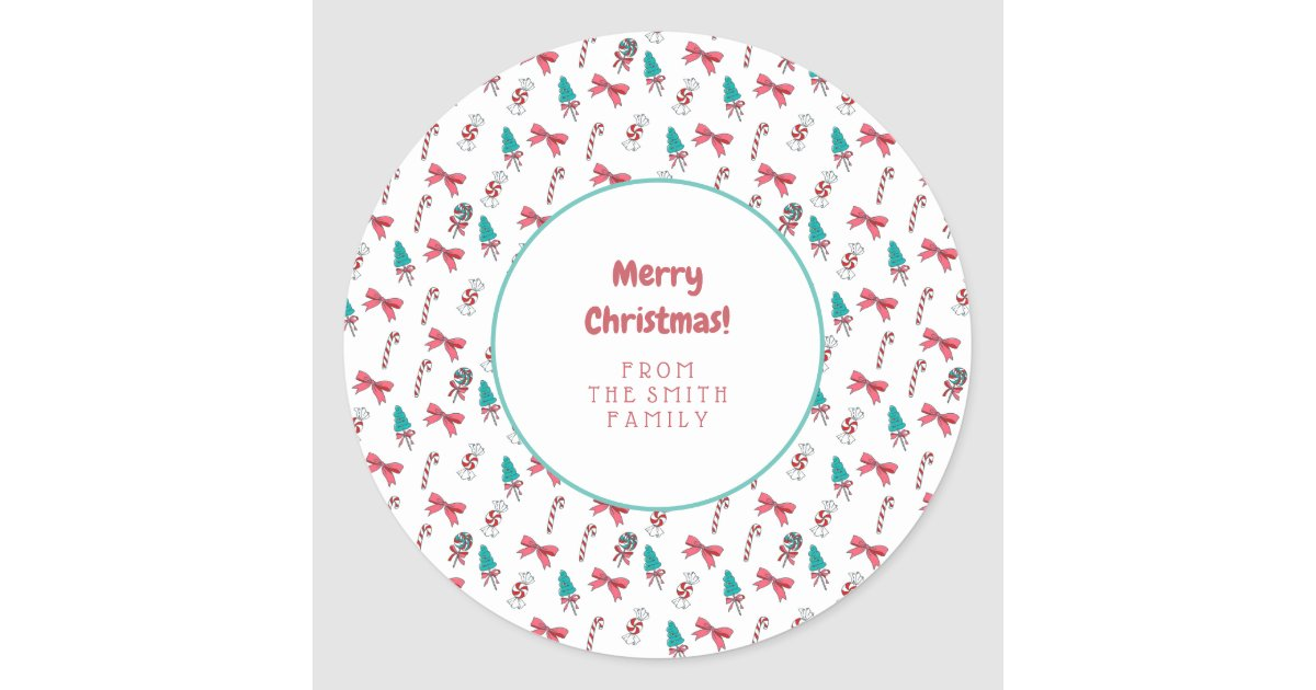Christmas Candy Cane Pattern Classic Round Sticker ...