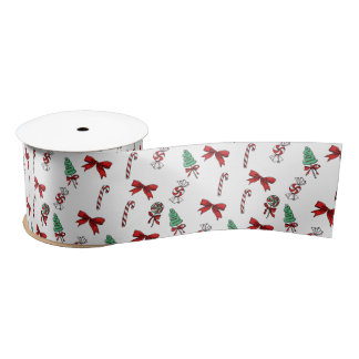Christmas Candy Cane Pattern Satin Ribbon