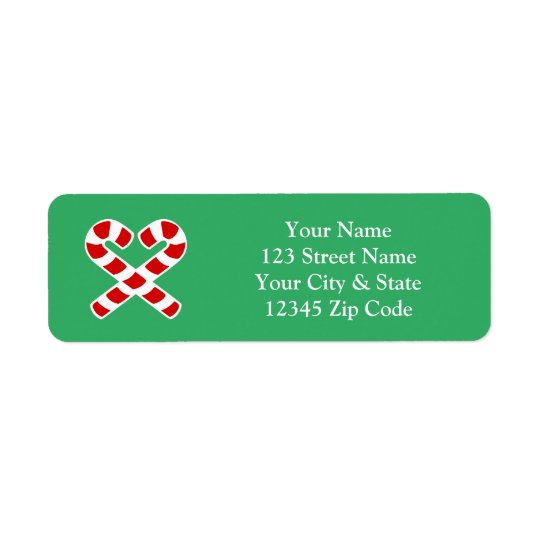 Christmas candy cane return address labels