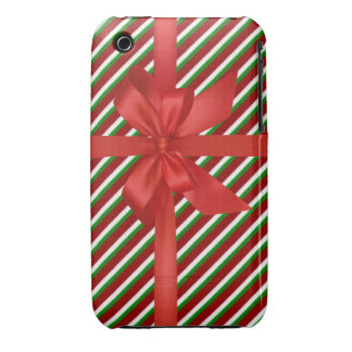Christmas candy cane stripes iphone 3 case