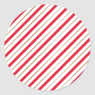 Christmas Candy Cane Stripes Red/Faux Gold Sticker