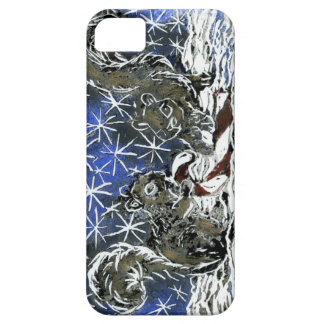 Christmas Candy Cane & Two Squirrels - block print iPhone 5 Covers
