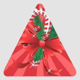 Christmas candy cane with bow 2 triangle sticker
