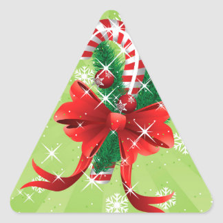 Christmas candy cane with bow 4 triangle sticker