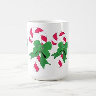 Christmas Candy Cane with Green Ribbon Mug