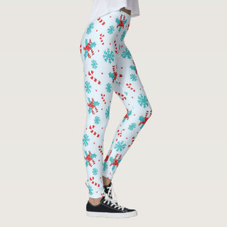 Christmas Candy Canes and Snowflakes Leggings