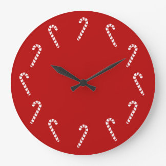 Christmas Candy Canes Large Clock