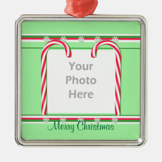 Christmas Candy Canes on Green (photo frame) Christmas Ornament