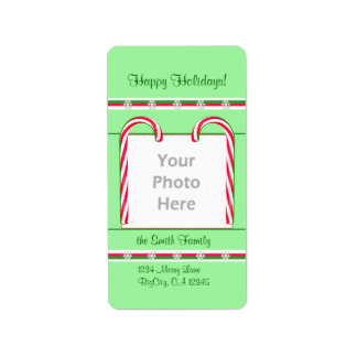 Christmas Candy Canes Photo Frame Address Label