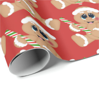 Christmas candy gingerbread Holiday party wrap Wrapping Paper