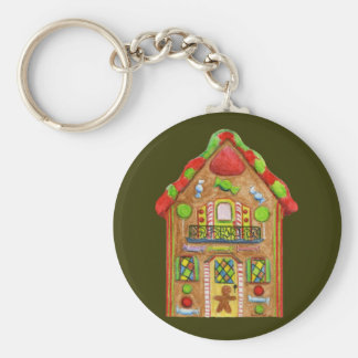Christmas Candy Gingerbread House Basic Round Button Key Ring