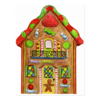 Christmas Candy Gingerbread House Postcard