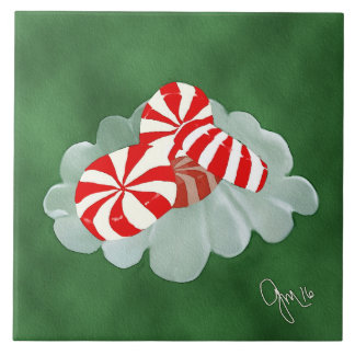 Christmas Candy Large Square Tile