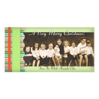 Christmas Candy Stripes Photo Card Template