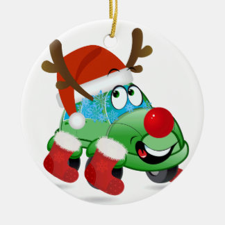 Christmas Car Cartoon Circle Ornament