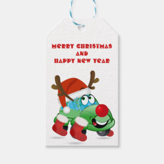 Christmas Car Cartoon Gift Tag