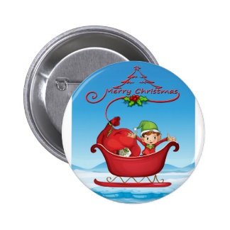 Christmas card 6 cm round badge
