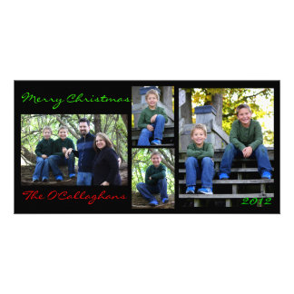 Christmas Card - Black Background Photo Greeting Card
