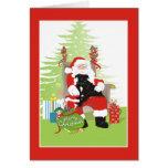 Christmas Card - Black Pit Bull Dog on Santa's Lap