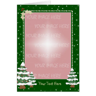 Christmas Card Border - Snowy Decorated Pine Trees