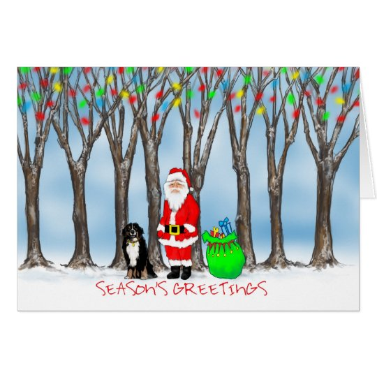 Christmas Card - Burnese Mountain Dog & Santa