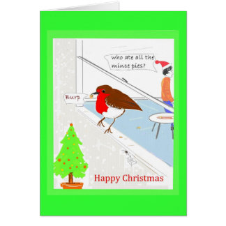 Christmas Card customizable cute robin