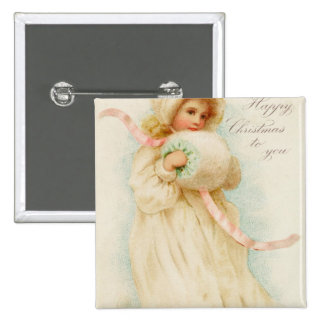 Christmas card depicting a girl with a muff 15 cm square badge