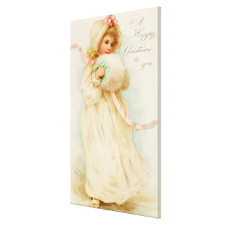 Christmas card depicting a girl with a muff canvas print