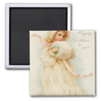 Christmas card depicting a girl with a muff magnet