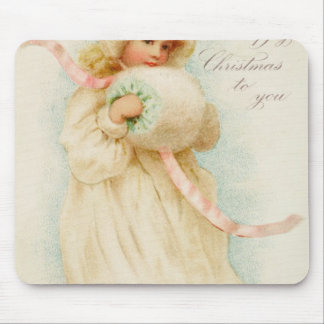 Christmas card depicting a girl with a muff mouse mat
