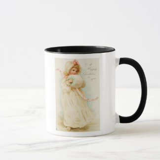 Christmas card depicting a girl with a muff mug