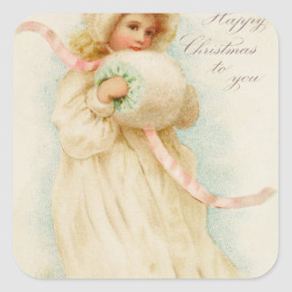 Christmas card depicting a girl with a muff square sticker