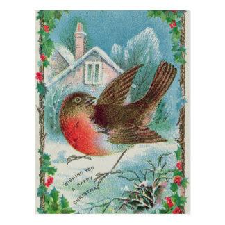 Christmas card depicting a robin