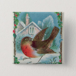 Christmas card depicting a robin 15 cm square badge