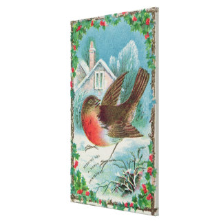 Christmas card depicting a robin canvas print