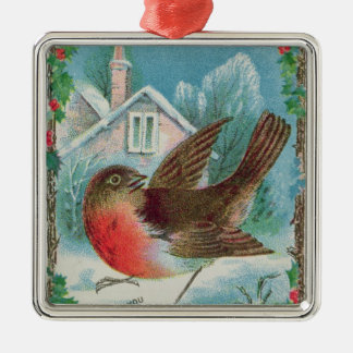 Christmas card depicting a robin christmas ornament