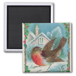 Christmas card depicting a robin magnet