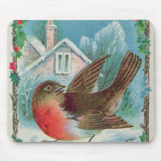 Christmas card depicting a robin mouse mat
