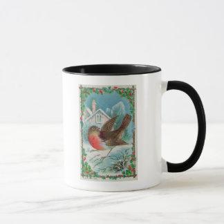 Christmas card depicting a robin mug