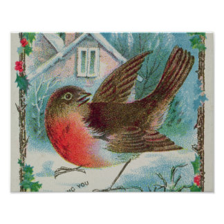Christmas card depicting a robin poster