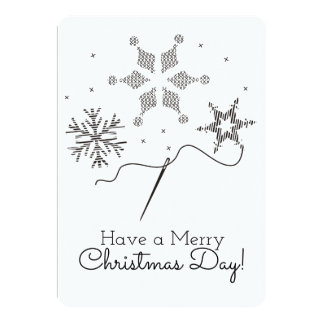Christmas card embroidery cross stitch sewing 13 cm x 18 cm invitation card