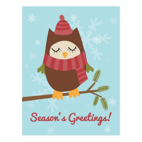 Christmas card featuring cute owl on pine branch