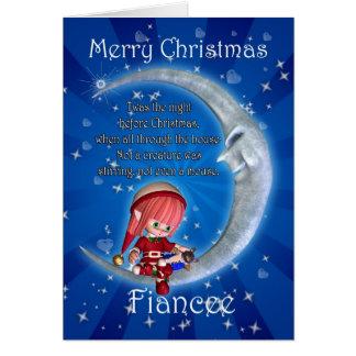 Christmas card Fiancee Christmas Snowman on the