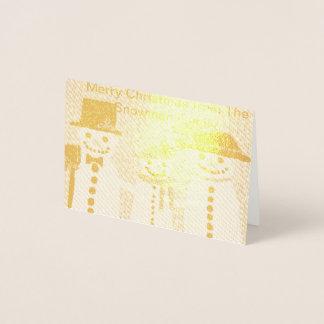 Christmas card, foil, snowman design gold foil card
