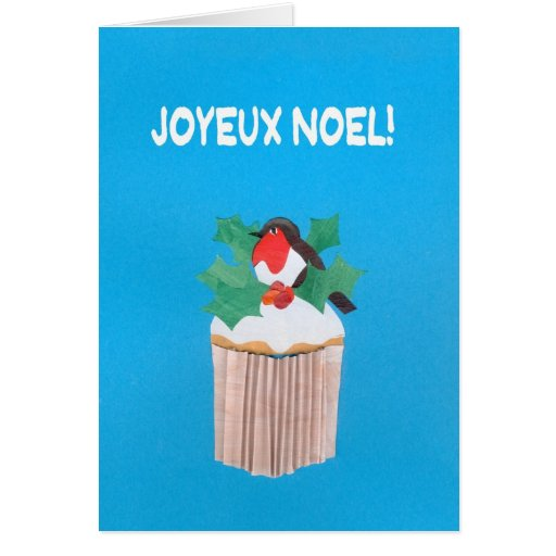Christmas Card, French Cupcake with Robin