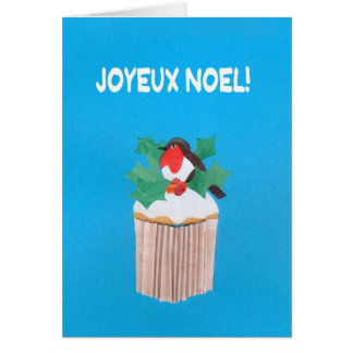 Christmas Card, French Cupcake with Robin Greeting Card